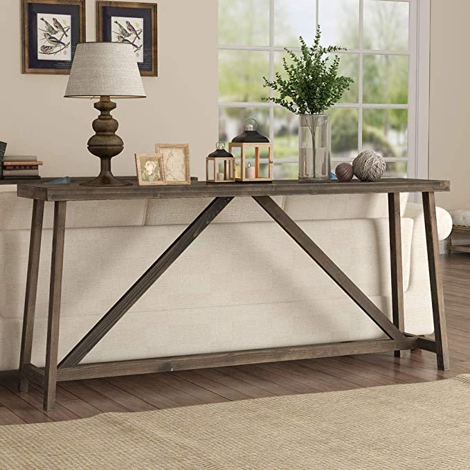 Amazon Com Tribesigns 70 9 Inches Extra Long Sofa Table Solid Wood Behind Couch Table Rustic Console Ta In 2020 Sofa Table Design Long Sofa Table Rustic Sofa Tables