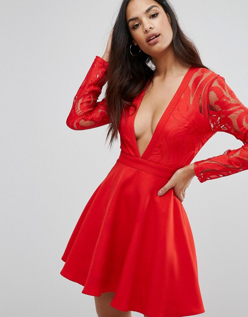 Plunge Lace Sleeve Skater Dress By Missguided Red In 2019