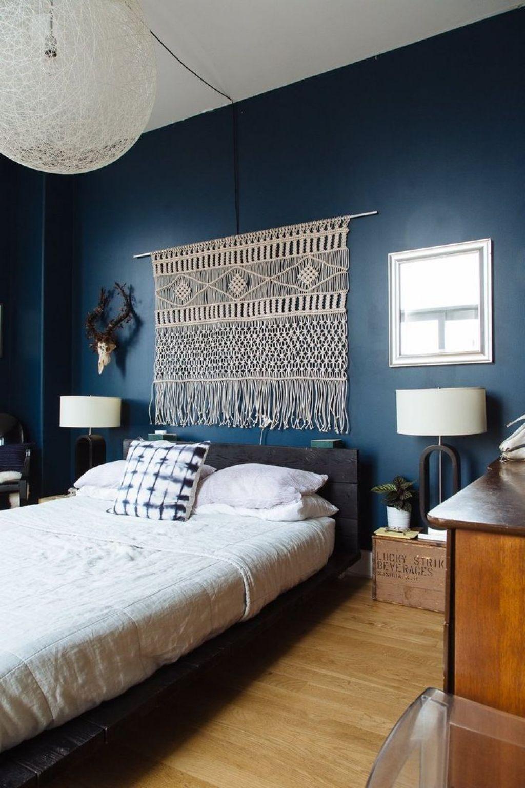 Room Bedroom With Dark Blue Walls