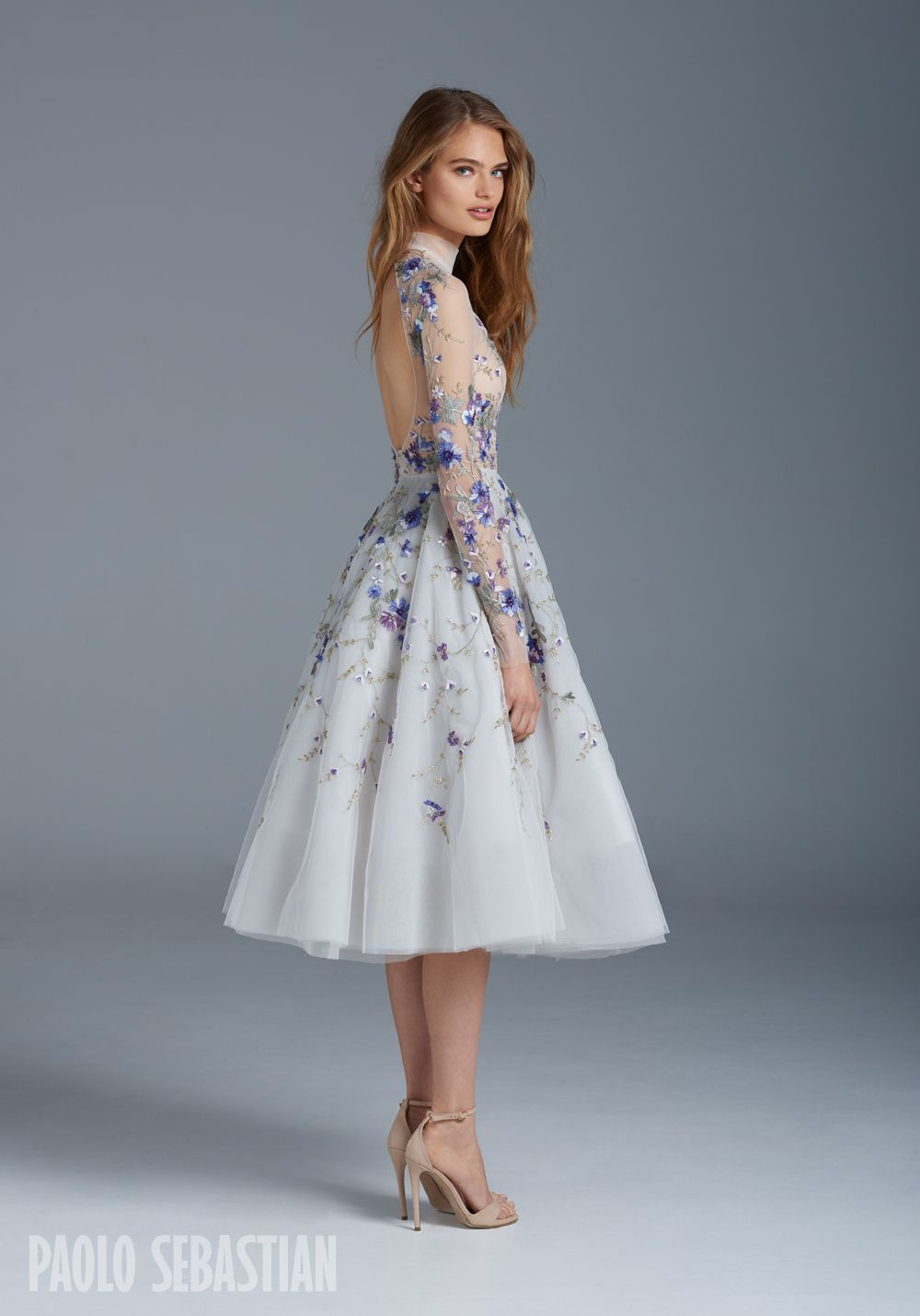 Psss illusion tulle ballerina gown with floral embroideries