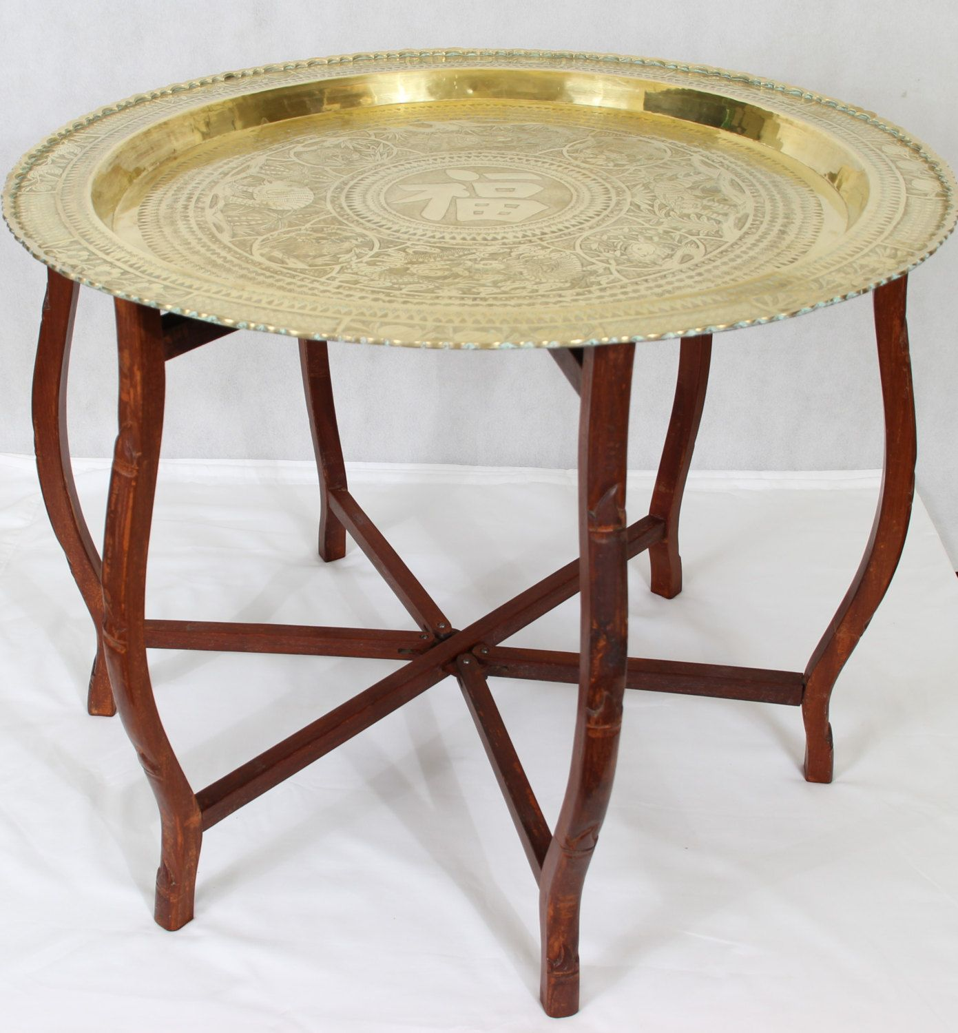 "Brass Display Coffee Table: Vintage 30"" ChineseHand Engraved Brass Tray Table Folding"