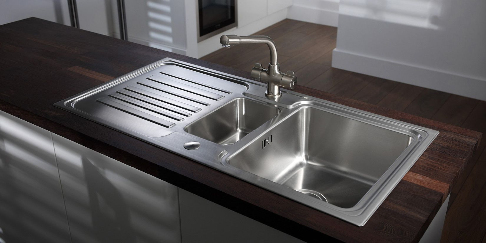 Wonderful Modern Stainless Steel Sink Part - 10: Kitchen, Vintage Kitchen Sink Design Two Square Small Big Stainless Steel  Sink Stainless Steel Faucet