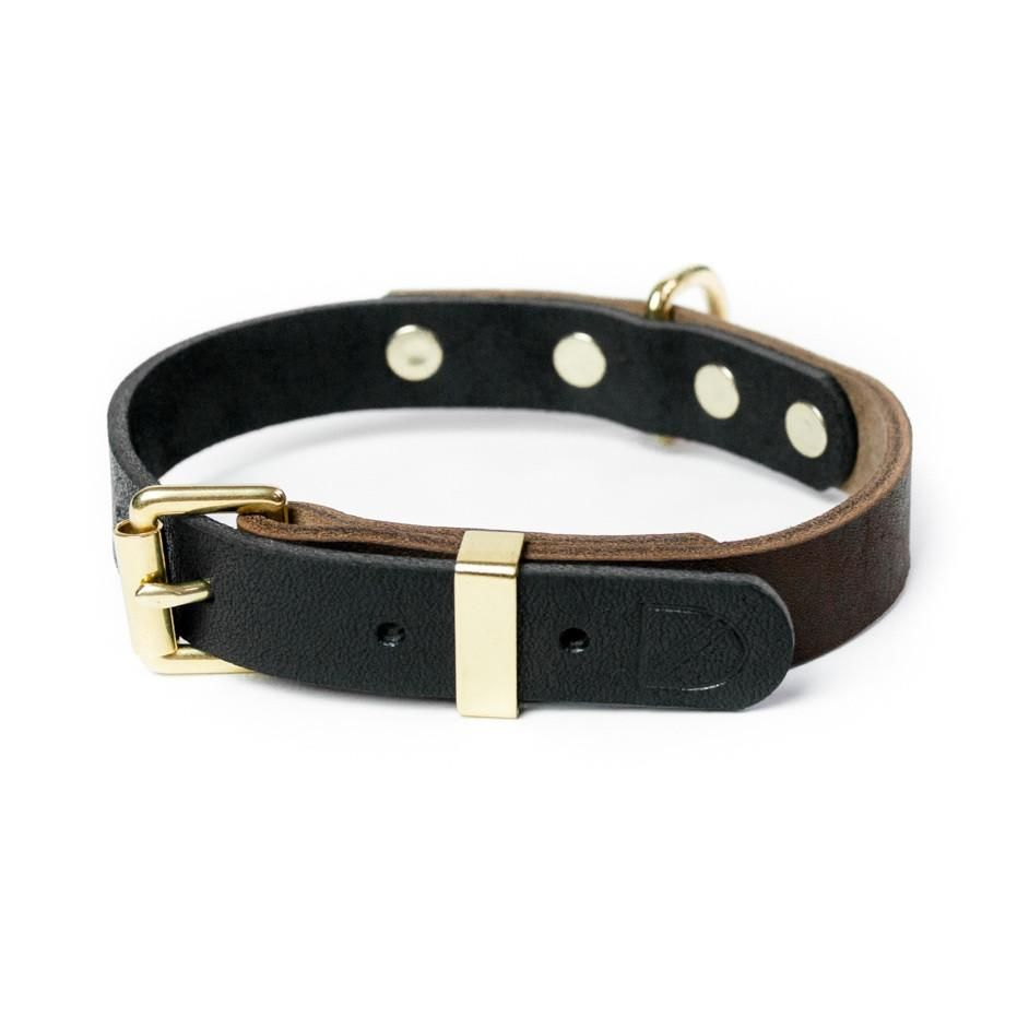 Two Tone Leather Dog Collar Brown Black Diy Dog Collar