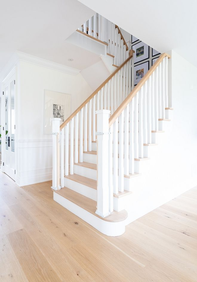 Staircase Square Stair Spindles And Balusters With White | White Oak Stair Railing