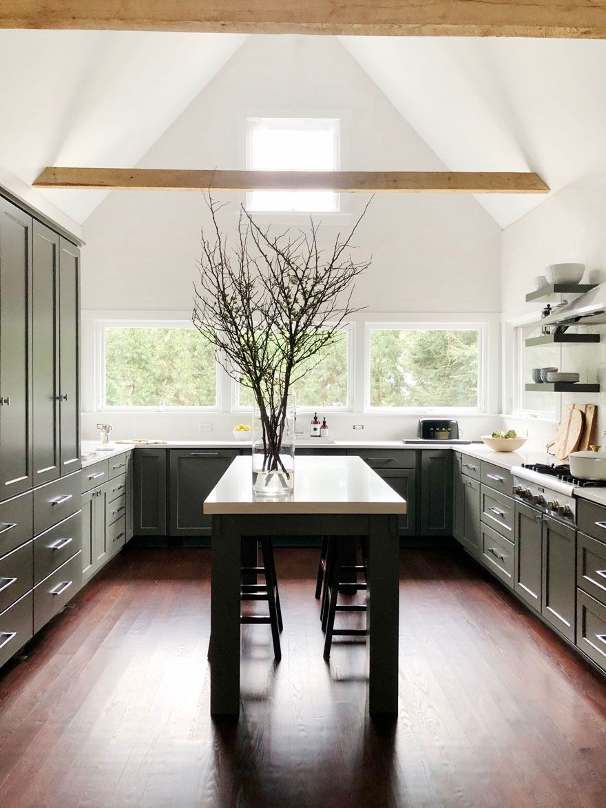 a beautiful new kitchen with a custom furniture style island rh pinterest com