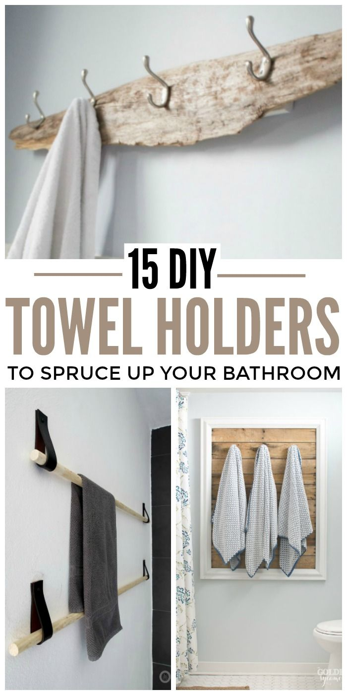15 Diy Towel Holders To Spruce Up Your Bathroom Towel Holder Diy Hand Towels Bathroom Diy Towels