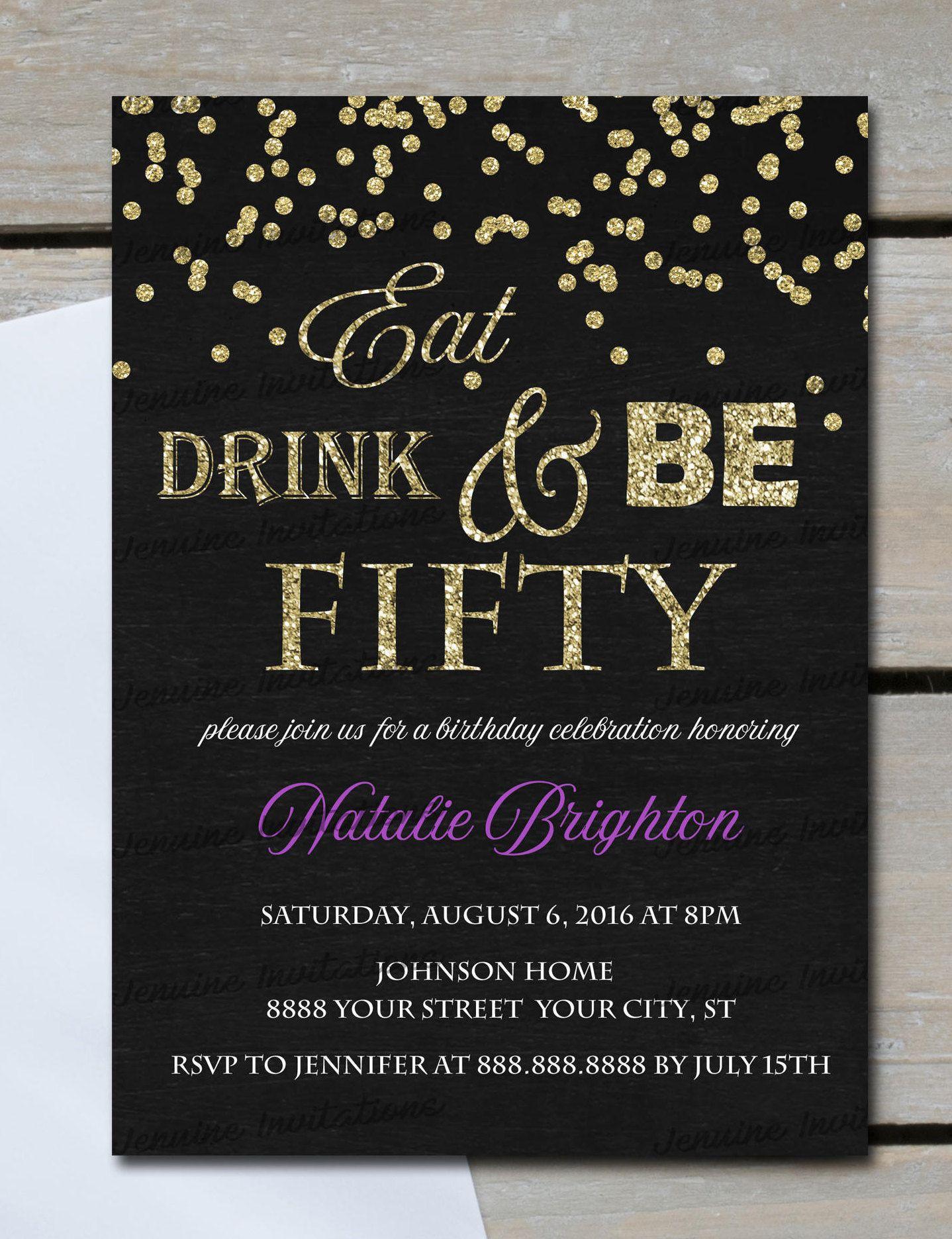 Eat Drink and Be Fifty Birthday InvitationsAny Age th Birthday