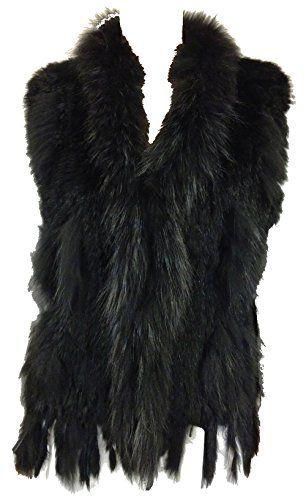 Luxus ECHT Kaninchen FELL PELZ WESTE One Size passt 36 42