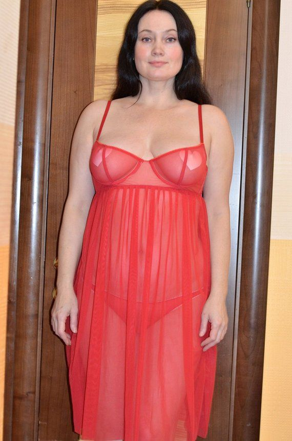 45144399f65 Women Sleepwear   Intimates Bras The Sheer Red Cup Underwire Night Gown  Lingerie MADE TO ORDER
