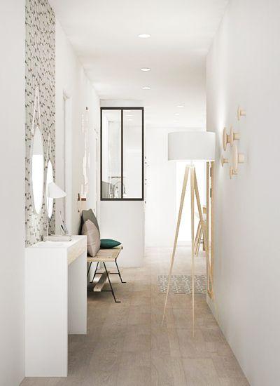 un bain de lumi re pour cette entr e d 39 appartement entr e appartement blanc http www m. Black Bedroom Furniture Sets. Home Design Ideas