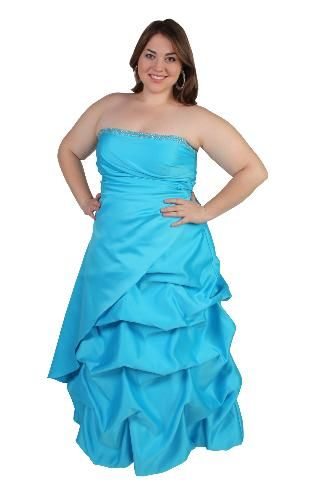 plus size beaded satin pickup ball gown with pleated side overlay for my two brides maids