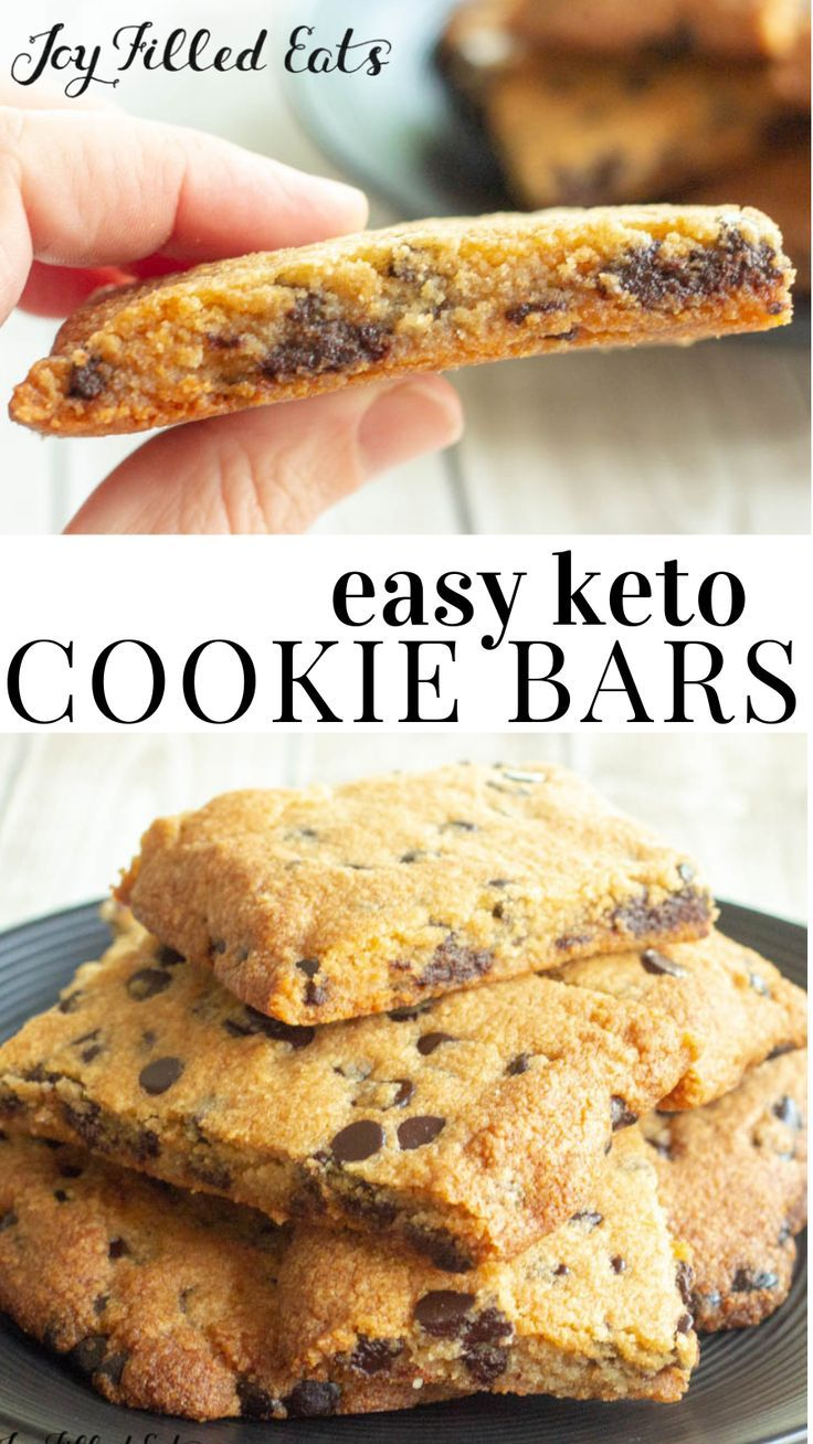 Keto Chocolate Chip Cookie Bars - Low Carb, Gluten-Free, Grain-Free, Sugar-Free, THM S - These easy cookie bars remind me of the store-bought cookie bars I used to find in my school lunches. Except these are much healthier AND tastier. #lowcarb #lowcarbrecipes #lowcarbdiet #keto #ketorecipes #ketodiet #thm #trimhealthymama #glutenfree #grainfree #glutenfreerecipes #recipes #desserts #dessertrecipes #ketodessert #lowcarbdessert #sugarfree #ketocookierecipes
