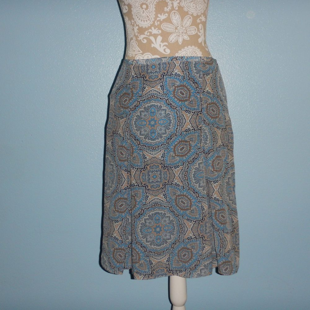 Ann Taylor Loft Paisley Light Blue Pleat Silk Skirt Size 6 #AnnTaylorLOFT #ALine