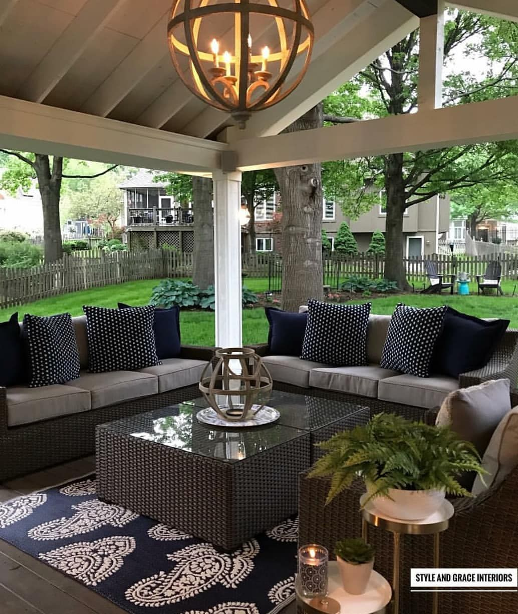 swipe and enjoy this wonderful covered patio by style and grace rh pinterest com