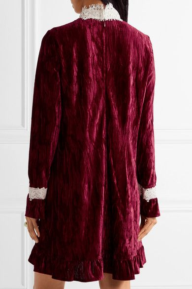 To The One I Love Lace-trimmed Crushed-velvet Mini Dress - Burgundy Anna Sui 3AnnH
