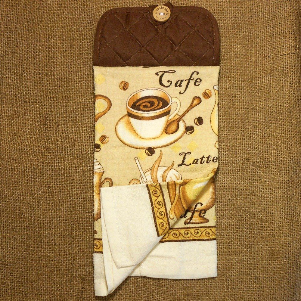 cafe latte hanging dish towel coffee themed kitchen decor handmade rh nl pinterest com