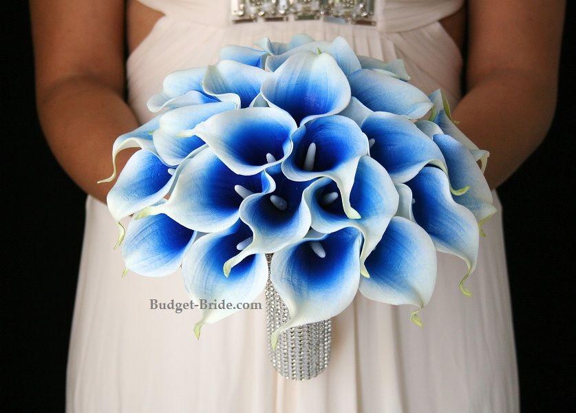 Royal Blue Halo Calla Lily Silk Flowers Wedding Lily Bridal Bouquet Prom Flowers
