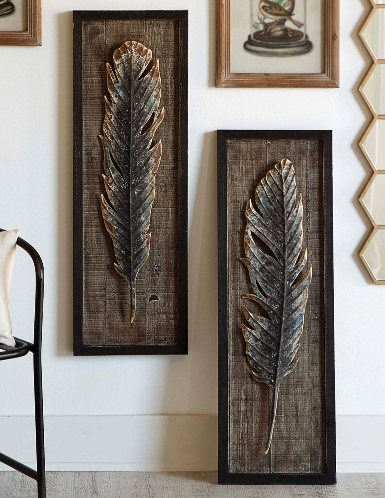 Framed Feather Wall Art Set Of 2 Overstock Feather Wall Art