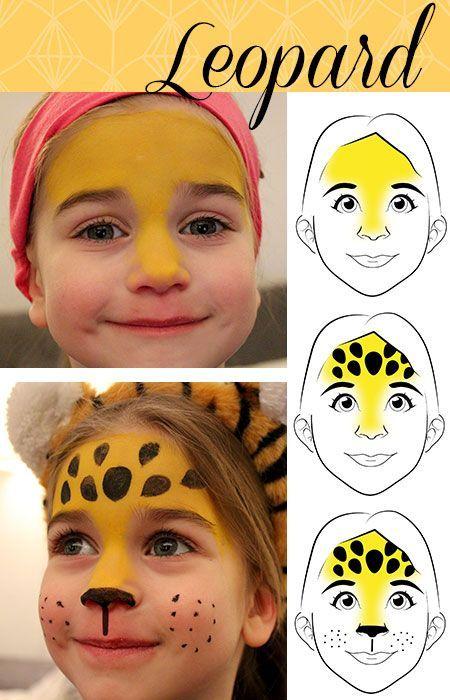 Le maquillage de carnaval fait face au léopard et au papillon – moufle domestique