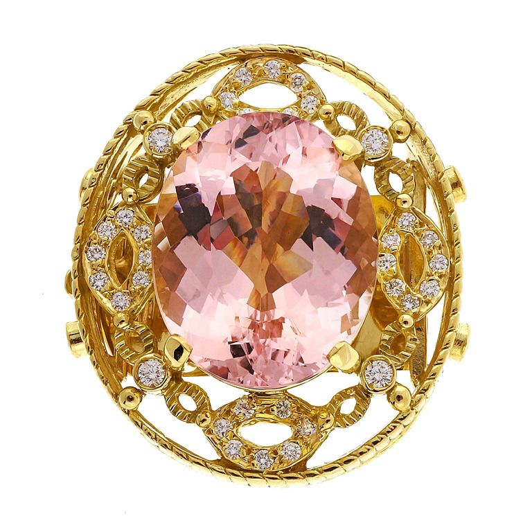 Doris Panos Yellow Gold Morganite Diamond Pendant Slide | See more rare vintage Necklace Enhancers at http://www.1stdibs.com/jewelry/necklaces/necklace-enhancers