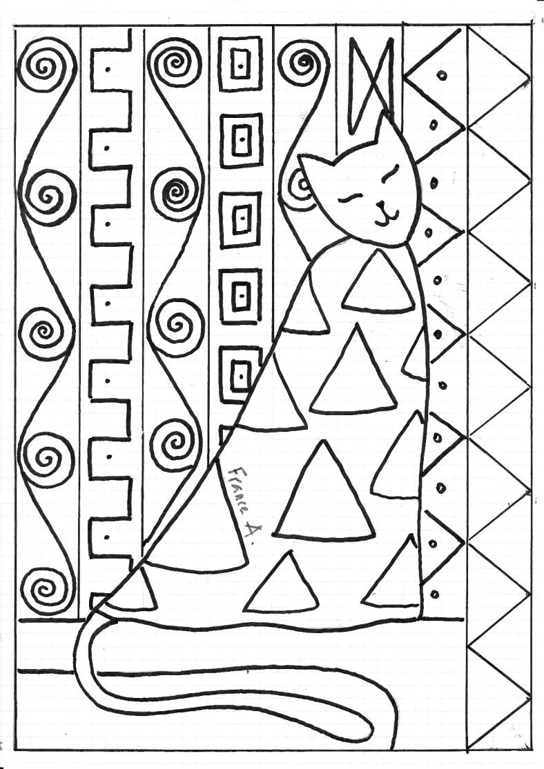 chat klimt en 2020  art klimt cours d'art coloriage