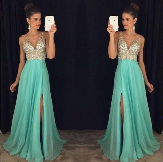 ac030a1d68fee6 v-neck prom dress,long prom Dress,cheap Prom Dress,beaded prom dress,side  slit prom dress,BD3912