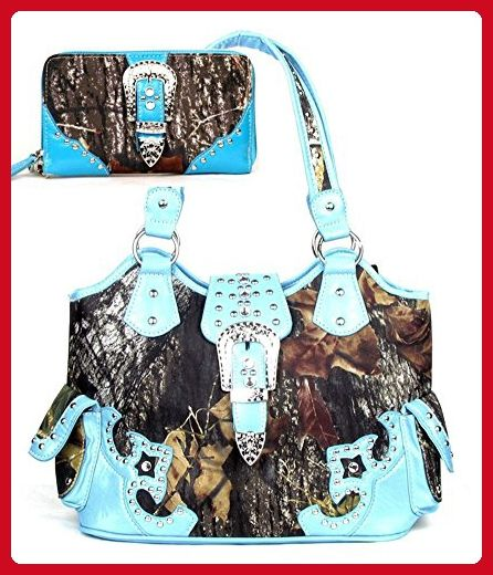 7ab28f1791 Large Western Concealed Carry Weapon Belt Buckle Purse Camouflage Handbag  Camo Blue W Matching Wallet - Shoulder bags ( Amazon Partner-Link)