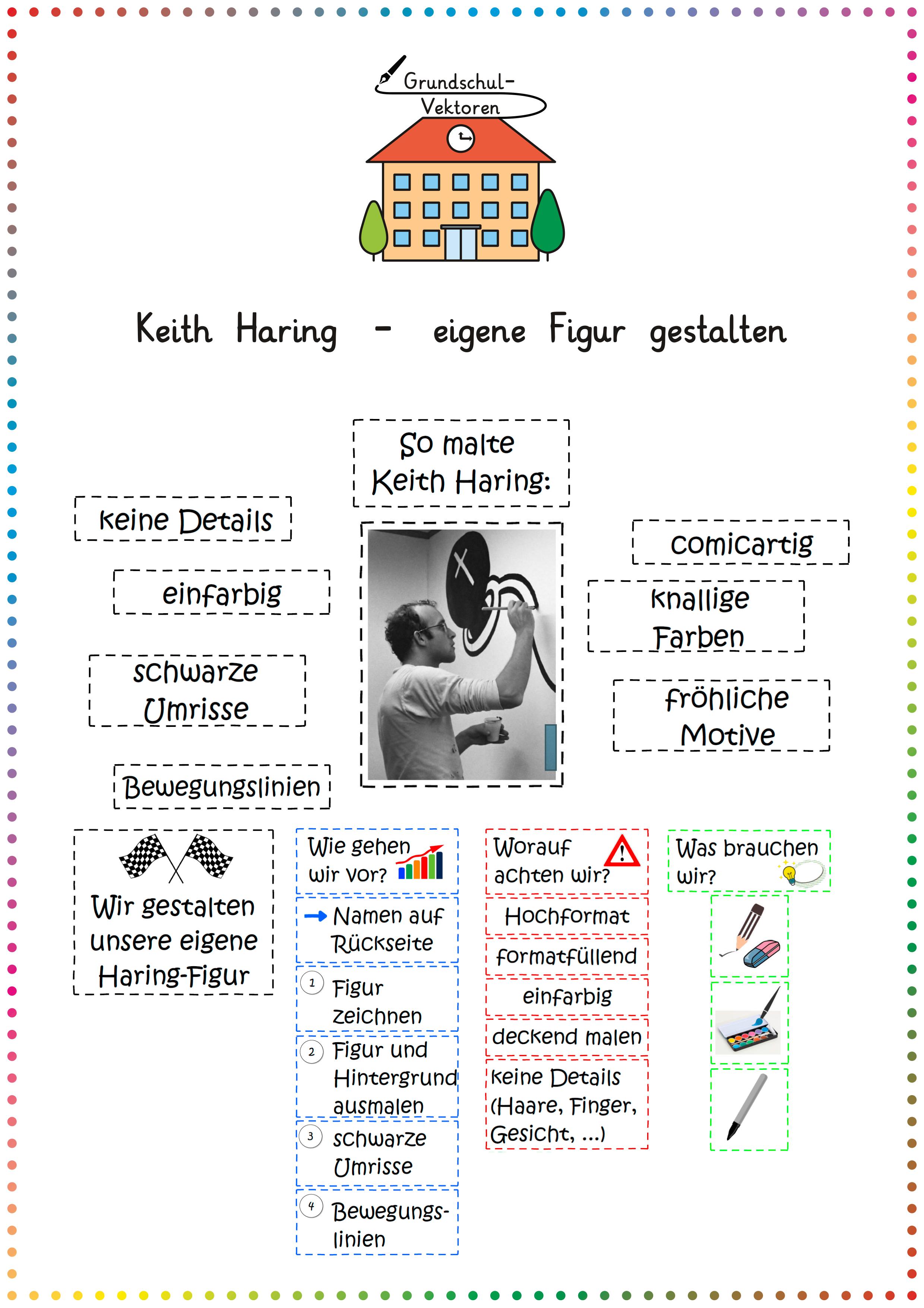 Keith Haring Eigene Figur Gestalten Unterrichtsmaterial Im Fach Kunst Keith Haring Kunstunterricht Kunstunterricht Grundschule