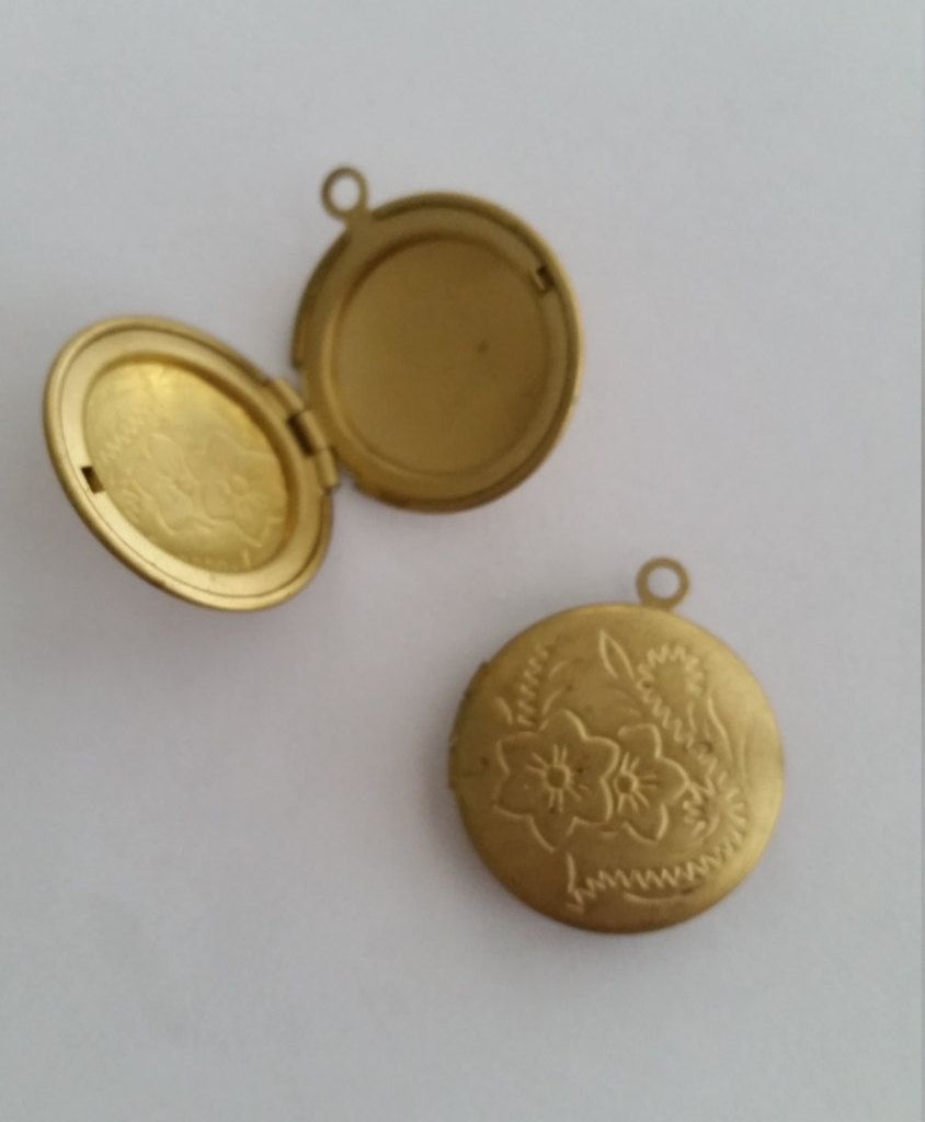 Vintage lockets antique brass lockets floral etched lockets