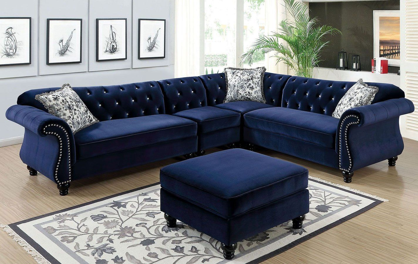 Jolanda Sectional Set Blue Blue Sectional Sectional Sofa Sectional Living Room Sets