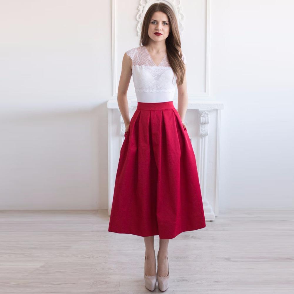 Burgundy tea length pleated satin skirts with pockets