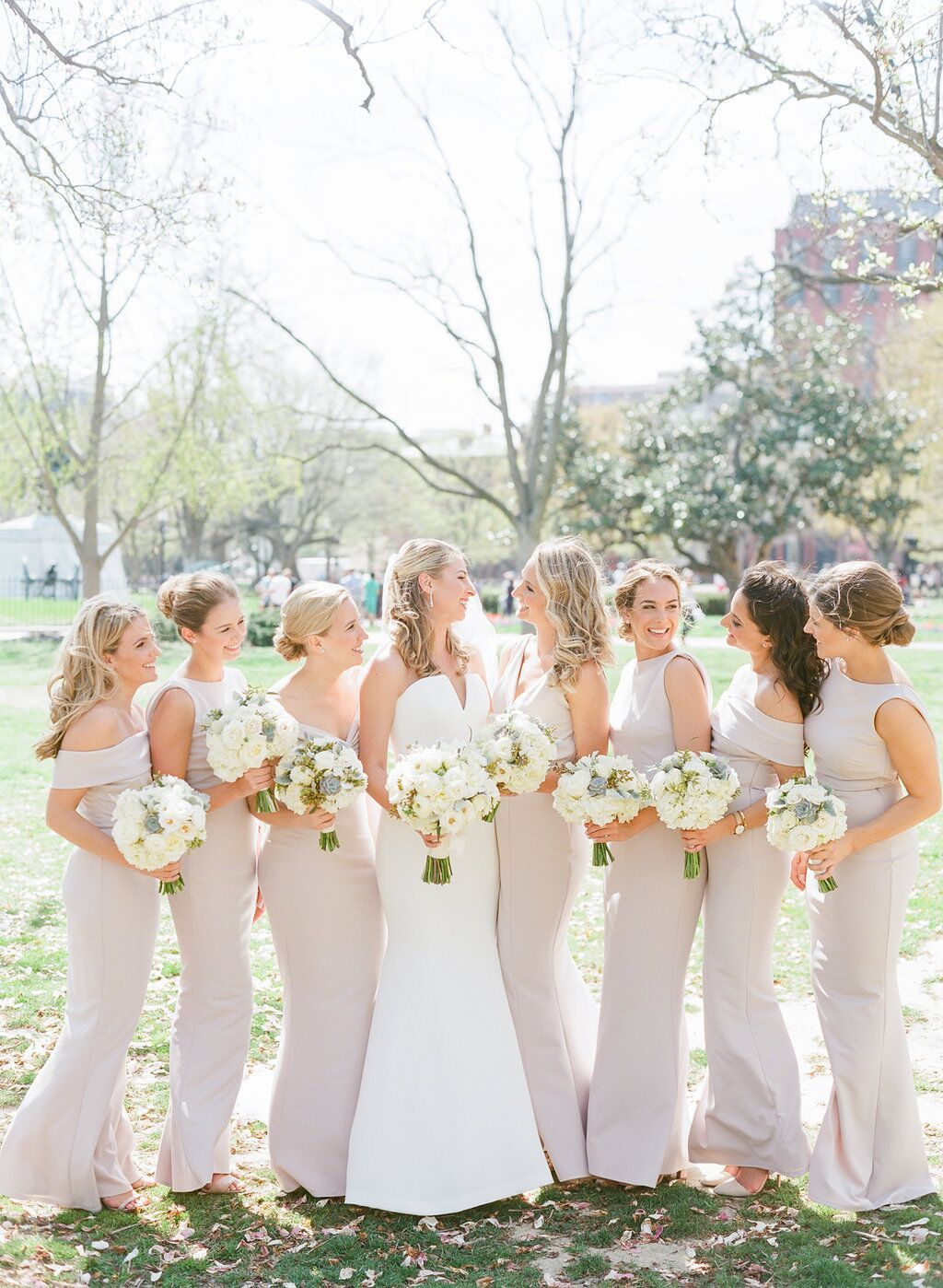 Tan Bridesmaid Dresses With Tight Textured Cream Bridal Party Florals At The National Mus Tan Bridesmaids Tan Bridesmaid Dresses Champagne Bridesmaid Dresses