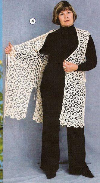 ажурный длинный жилет болерожилет вязаная крючком одежда