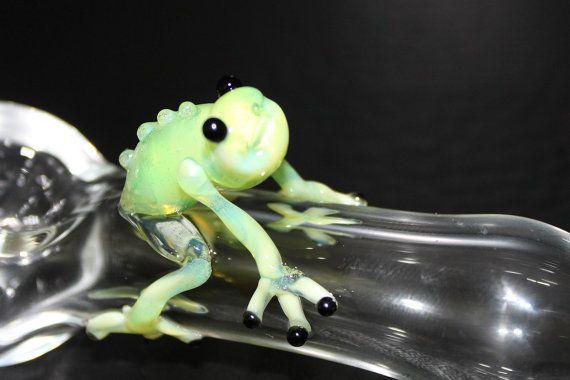 Figurine Miniature Blown Glass RedOctopus Animal Collectible Lampwork Poison Art