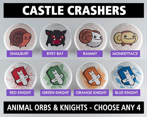 Castle Crashers Choose Your Own 1 Pinback Buttons Or Etsy Castle Crashers Buttons Pinback Pinback