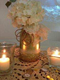 Golden Wedding Centerpieces.50th Wedding Anniversary Table Ideas 50th Wedding