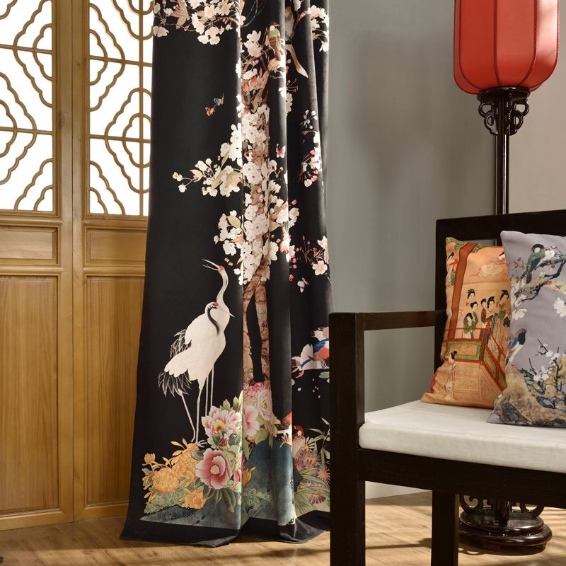Black Floral Vintage Light Blocking Bird Curtains Bird