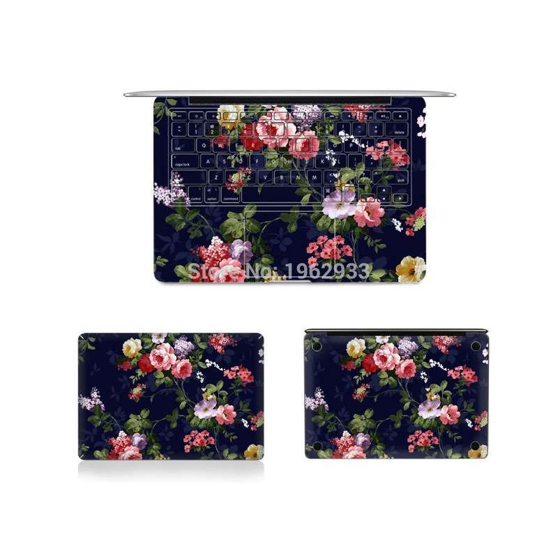 Black Flower Full Body Vinyl Skin Cover Protector Sticker For Macbook Air Pro Retina 11.6ınc 12ınc 15.4ınc 13.3ınca1706 A1465 A1