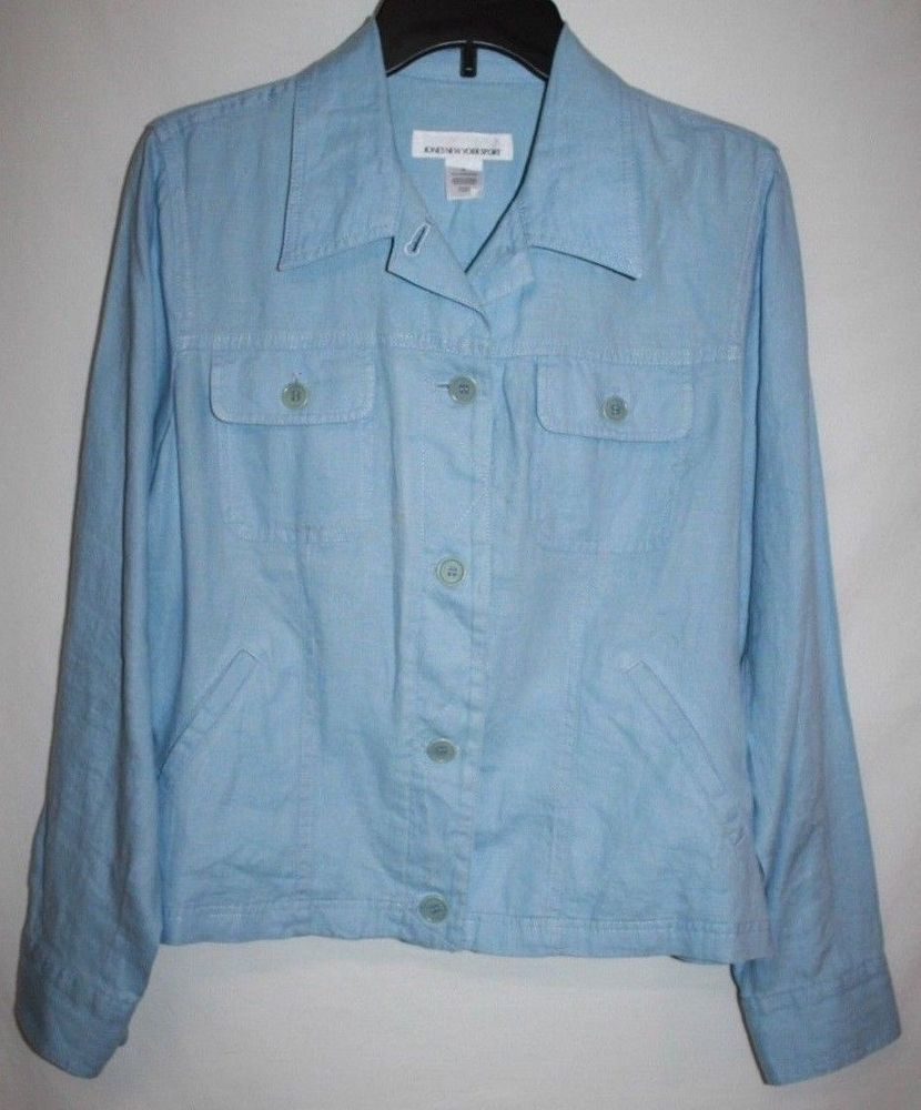 Jones New York Sport Misses Medium Jacket Blue Linen