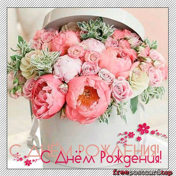 Открытка с букетом цветов в коробке | С днем рождения ...
