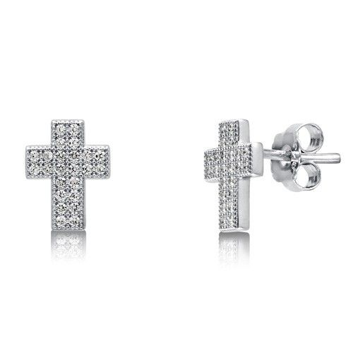925 Sterling Silver Rhodium-plated Tiny CZ Cross Dangle Post Earrings