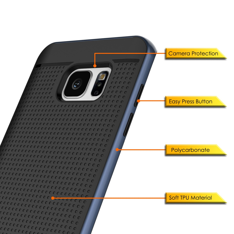 timeless design 9096d ccf0d Galaxy S7 Edge Case, PunkCase STEALTH Navy Blue Series Hybrid 3 ...