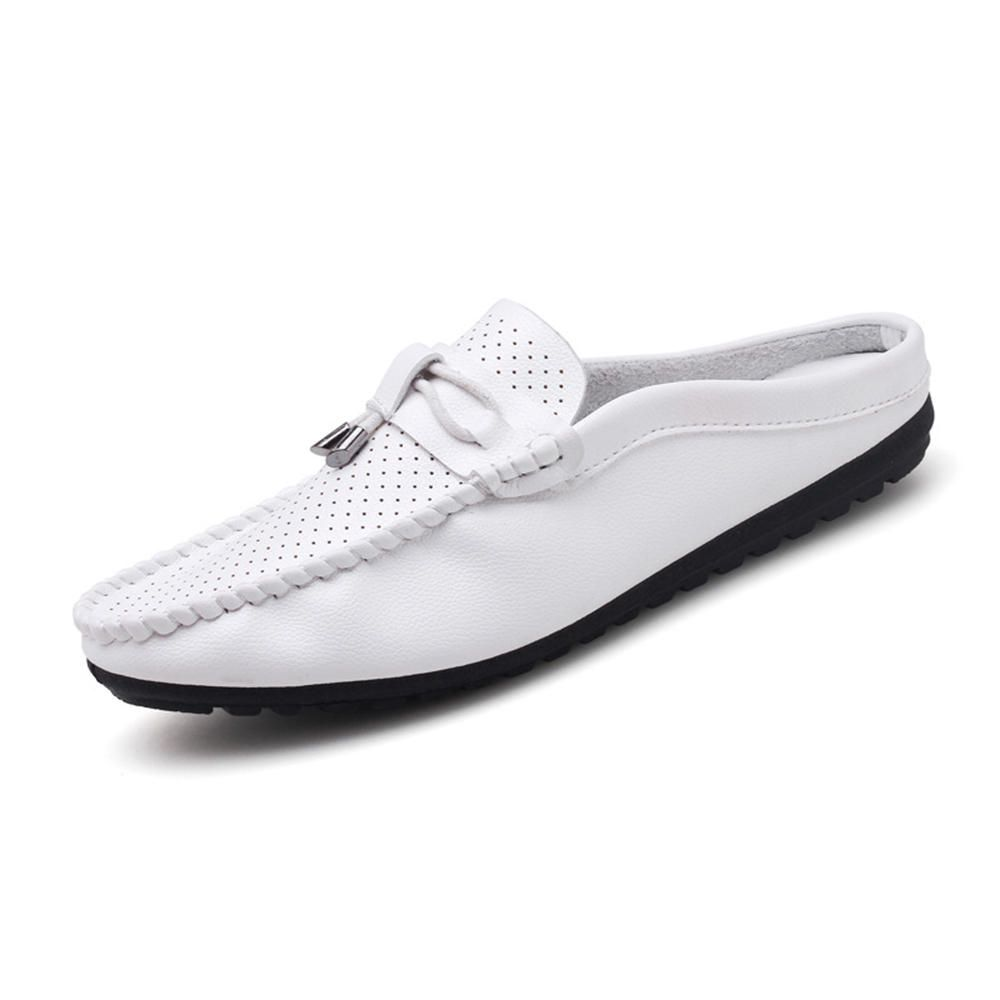 f4baa438a11  US 46.99  Men Comfy Breathable Hollow Out Leather Slippers Flats  comfy   breathable  hollow  leather  slippers  flats