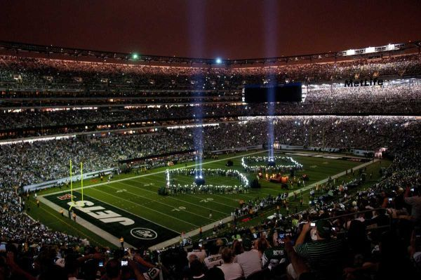 b2163a650fa MetLife Stadium, home of the NY JETS football team. A memorial to 9 ...