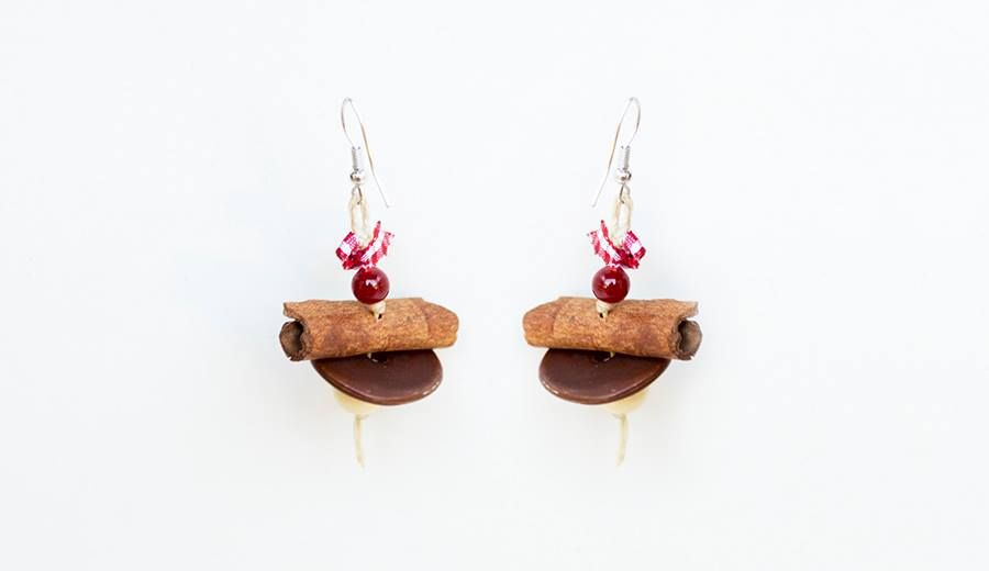 Beaded earrings with cinnamon sticks stick earrings
