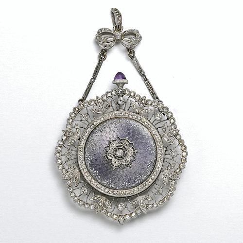 Unsigned, A SET OF TWO LADY'S PLATINUM AND DIAMOND SET ENAMEL WATCHES, A LADY'S PLATINUM DIAMOND SET ENAMEL PENDANT WATCH, CIRCA 1920 CASE 16586, A LADY'S PLATINUM DIAMOND SET ENAMEL BROOCH WATCH, CIRCA 1920, | Lot | Sotheby's