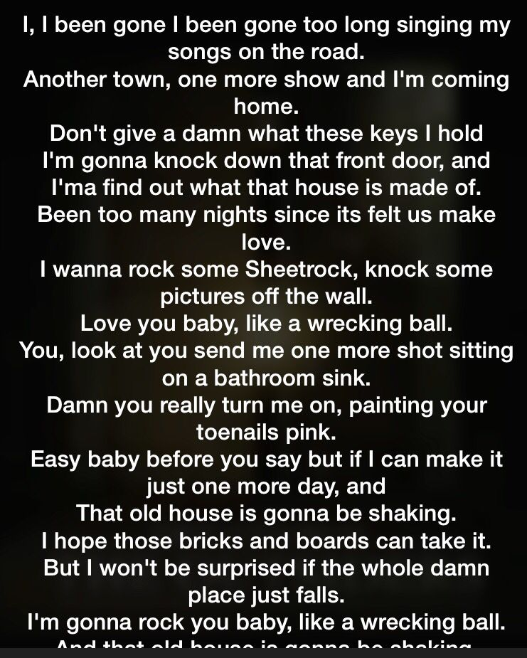 Lyric shot at the night lyrics : Eric church, like a wrecking ball.. Love this song so much ...