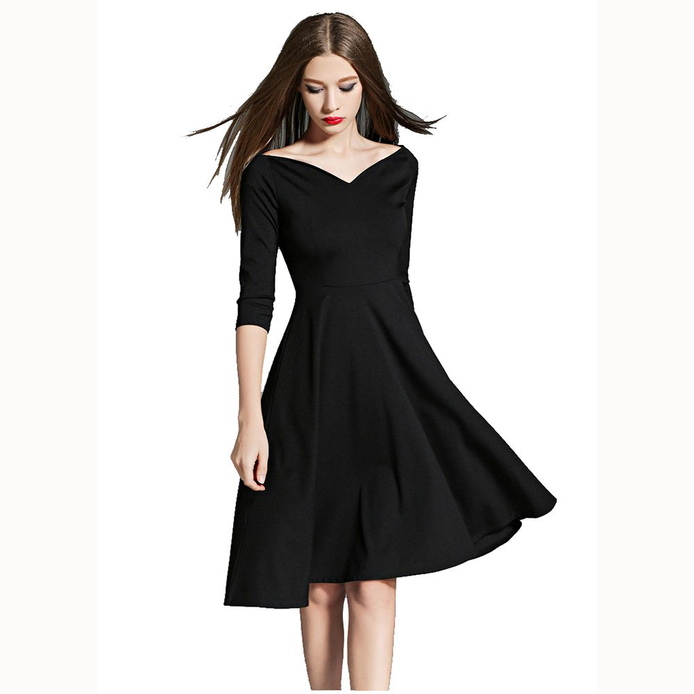 Short black formal dress deep v collar robe de soiree half sleeve
