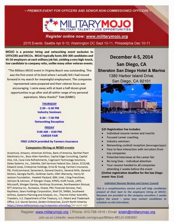 Military Mojo Military Talent Job Opportunities Job Fair 12 4