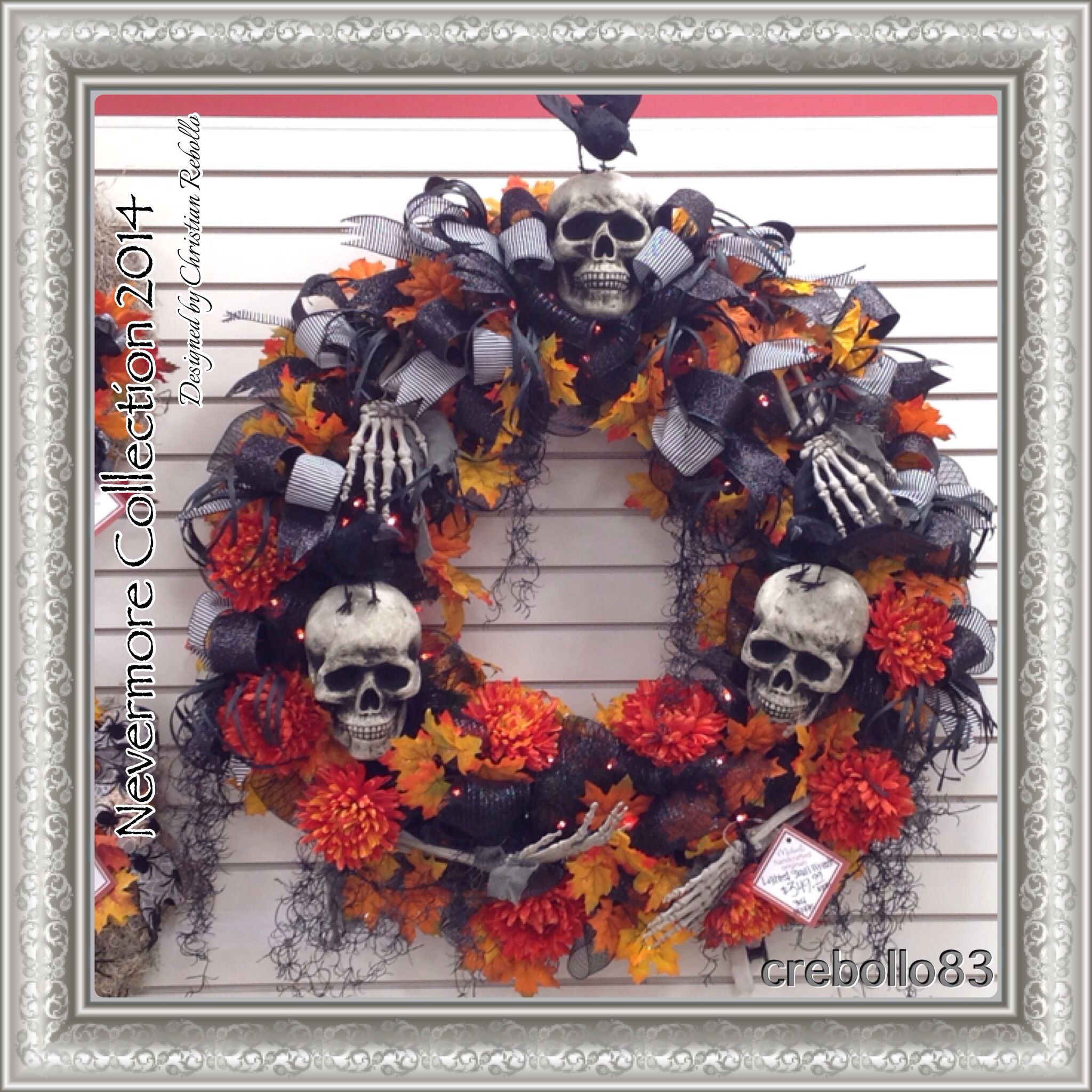 """Nevermore Collection 2014 designed by Christian Rebollo. This lighted and decorated Halloween Wreath is over 36"""" in diameter!!"""